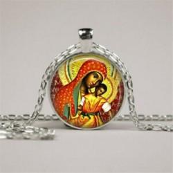 Vintage Madonna / gyermek Jézus fotó cabochon üveg ezüst lánc medál nyaklánc