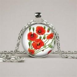 Vintage Pipacsok piros virágok fénykép cabochon üveg ezüst lánc medál nyaklánc