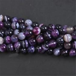 Purple Stripe Agate - Természetes drágakő kerek kő laza gyöngyök tétel 4mm 6mm 8mm 10mm barkács ékszerek készítése