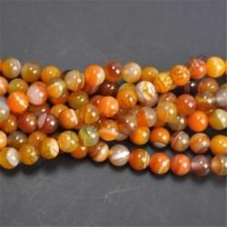 Orange Stripe Agate - Természetes drágakő kerek kő laza gyöngyök tétel 4mm 6mm 8mm 10mm barkács ékszerek készítése