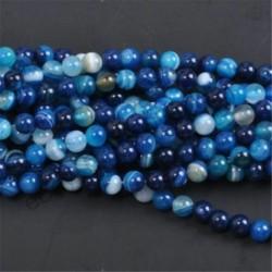 Blue Stripe Agate - Természetes drágakő kerek kő laza gyöngyök tétel 4mm 6mm 8mm 10mm barkács ékszerek készítése