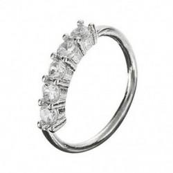 Silver - Orrgyűrű fülkarika Tragus Helix porc fülbevaló kristály rozsdamentes acélból