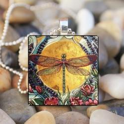 Sárga hold szitakötő Art cabochon üveg csempe lánc medál nyaklánc ezüst