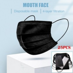 25 db szájmaszk eldobható 4 rétegű nem szövött porvédő maszk fekete