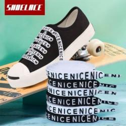 1 pár divatbetűs nyomtatott lapos cipőfűző alkalmi sport szabadtéri vászon cipők cipőfűző cipő húrok