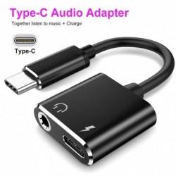2 az 1ben Ctípusú 3,5 mmes audio adapter töltőport Ctípusú audio Cbale AUX adapter kábel