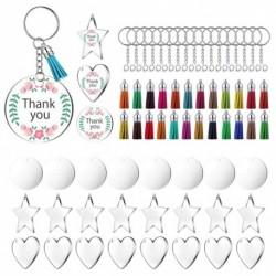 24 darab akril átlátszó körtárcsa, 2 hüvelyk átmérőjű kerek átlátszó akril kulcstartó üres és bojt medál 72db