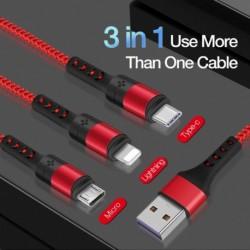 3 az 1ben USB kábel mobiltelefonhoz 3A Micro USB C típusú töltőkábel Huawei iPhone 11 pro XR XS Max X gyors adatátviteli