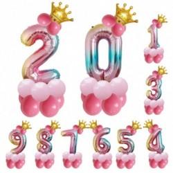 32 hüvelykes korona lufi fólia ballon szivárvány színátmenetes számgömb színes esküvői születésnapi party