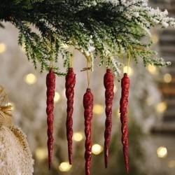 5db színes jégcsap medál kreatív medál varázspálca medál kis fa szál díszek karácsonyi dekorációs kellékek