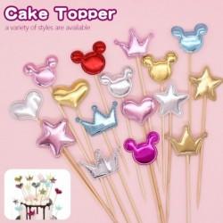 5db PU tortafeltöltők születésnapi korona csillagok szív cupcake topper zászlók esküvői gyerek születésnapi parti