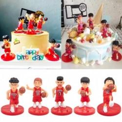 5db / készlet Slamdunk figurák díszek tortafelső születésnapi party dekoráció kosárlabda játékosok díszek torta