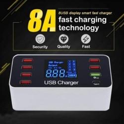 8 portos QC3.0 típusú USBtöltő, gyors töltés, C típusú intelligens töltőállomás LCD digitális kijelző, USB,