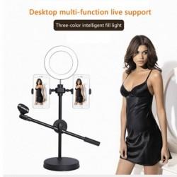 Asztali szelfigyűrű könnyű telefontartó mikrofon állvánnyal az Élő közvetítés smink Led gyűrű fényéhez
