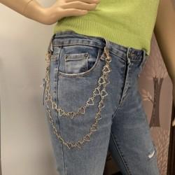 Divat egyszerű üreges szív alakú medál hiphop nadrág derék lánc női test ékszerek