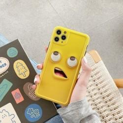 Funny Emoji Sárga lencsevédő telefon tok iPhone 11 Pro Max XR X XS Max iphone SE 6 7 8 Plus hátlaphoz Puha tokok