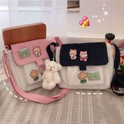 Lány aranyos rajzfilm medve messenger táska női többcélú vászon válltáska