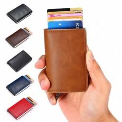 Férfi alumínium ötvözet blokkoló vékony pénztárca bőr pénz hitelkártya tartó klip férfi pénztárca