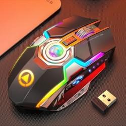Optikai játékegér USB újratölthető vezeték nélküli egér 7 gombos RGB LED háttérvilágítású USB 2.4G laptophoz