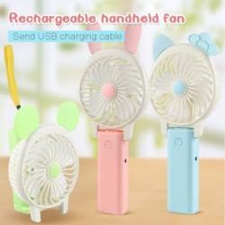 USB újratölthető rajzfilm Mini aranyos ventilátor összecsukható kézi ventilátor 2 sebességgel diák rajongók