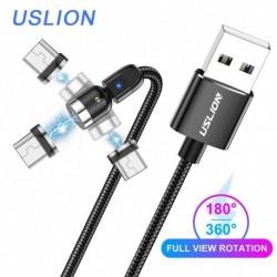 USLION mágneses kábel Micro USB mágneses töltőkábel 540 fokos töltő