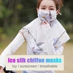Női könnyű arcmaszk sál kültéri lovagló napvédő selyem szájmaszk zsebkendő