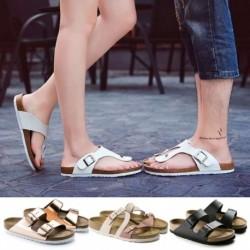 Női nyári parafa lapos alsó papucs hallgatói fém csatos babcipő alkalmi Pu egyszemélyes cipő