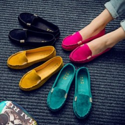 Női nyári kerek fejű lapos sarkú cipő diák fém csatos bab cipő alkalmi Pu egyetlen cipő