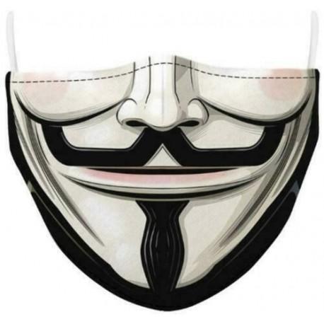 Design-58 - Férfi újrafelhasználható unisex vicces mosható arcmaszk fél arc száj Mark HipHop rajzfilm
