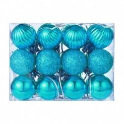 égszínkék - 24X Glitter Xmas Tree Hanger Baubles díszgömbök karácsonyi dekoráció törésálló