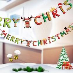 1db 2m hosszú Karácsonyi függő dekoráció - girland - Boldog Karácsonyt feliratos - Rénszarvas mintás