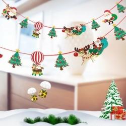 1db 2m hosszú Karácsonyi függő dekoráció - girland - Mikulás - Rénszarvas - Karácsonyfa mintás