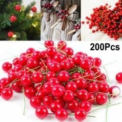 Nincs szín - 200db karácsonyi levélfa piros mesterséges cseresznye Holly Berry ágdíszek
