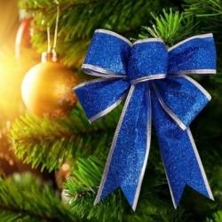 Kék - 2db nagy, fényes csillogó íj bowknot karácsonyfa party Baubles karácsonyi dekoráció