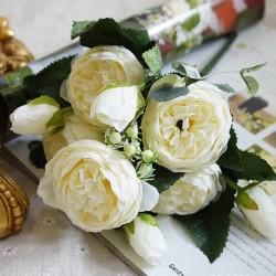 fehér - Házikert mesterséges selyem bazsarózsa virágok csokor hamis levél esküvői party dekoráció