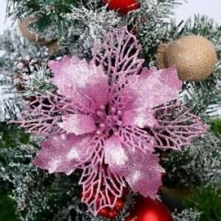 Rózsaszín - 10x karácsonyi Mikulásvirág csillogó virágfa függő karácsonyi party dekorációs ajándék