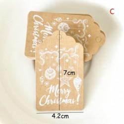 C - 50db / készlet karácsonyfa díszdobozban Hang Tag papírkártyák ajándék címke DIY dekoráció