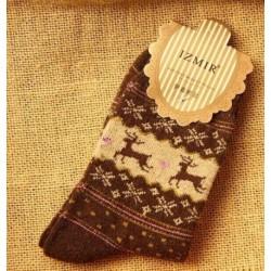 Barna - Női téli zokni karácsonyi meleg gyapjú zokni aranyos hópehely szarvas kényelmes zokni