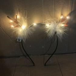 * 1 - Divat LED szarvas kürt világít fejpánt villogó kürt halloween és karácsonyi party
