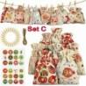 C - Karácsonyi barkács Adventi naptár visszaszámlálása 1-24 szám táska cukorkát tároló tasak
