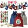 B - Karácsonyi barkács Adventi naptár visszaszámlálása 1-24 szám táska cukorkát tároló tasak
