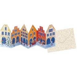 Narancssárga házak - Homlokzatok Adventi kártya áttetsző 24 ablakos német kivitel - háromszoros 16,5x11,5 cm
