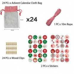 Nincs szín - 24db / szett matricákkal karácsonyi visszaszámláló kézműves adventi naptár táskák ajándék