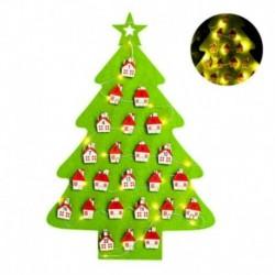 Zöld - Világító filc karácsonyi adventi naptár zsebekkel Mikulás ünnep szezonális dekorációval
