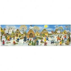 Hójelenet Gyerekek hó RS 263 - Nagyméretű Panoramic Advents 213x650cm -csillámos és áttetsző ablakok Ingyenes poszt az