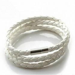 fehér - Új divat női férfi fekete bőr átlapolt mandzsetta karkötő karkötő