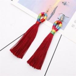 Bor vörös - Elegáns női bohém hosszú bojt rojtos csöpögő fülbevaló fülbevalók ékszerek