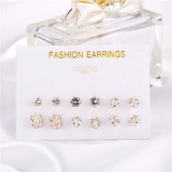 Kristály cirkónia szett (6 pár) - Divatos női strasszos kristálygyöngy akril fülbevalók ékszer ajándékba