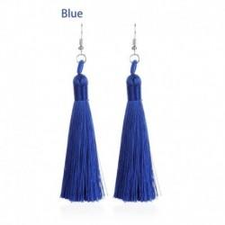 3 * kék - Fülbevaló horog hosszú peremű vaskos Boho női csüngő bojt bohém csepp ékszerek