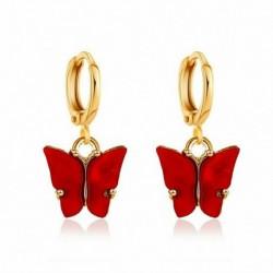 Piros fülbevaló - Női pillangó akril fülbevalók nyaklánc készlet csepp dangle fül karika ékszer ajándékok